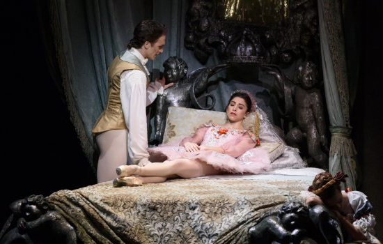 Yasmine Naghdi as Princess Aurora and Matthew Ball as Prince Florimund, with Elizabeth McGorian as Carabosse in The Sleeping Beauty