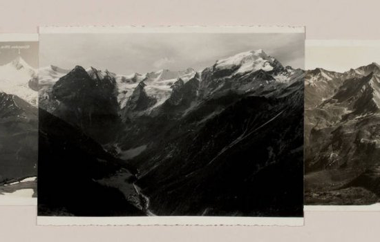 Detail of Postcard Sketch (mountains), 2007. Collage of found postcards.