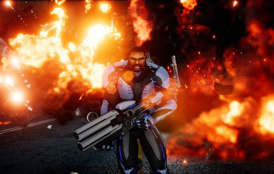 Screenshot from Crackdown 3 - computer generated man holding a gun in front of a large fire
