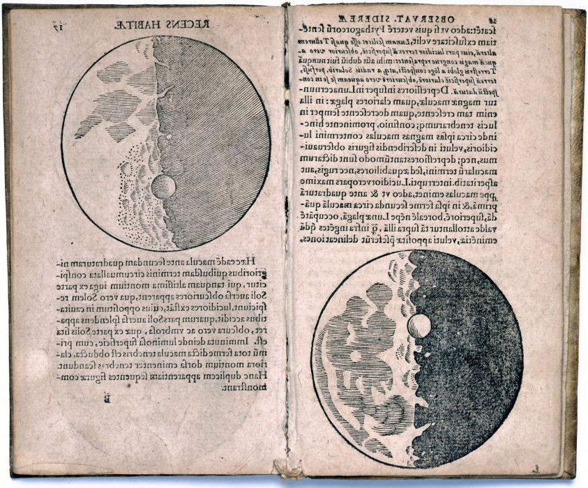 Pages from a book, written in Latin, including detailed illustrations of the Moon